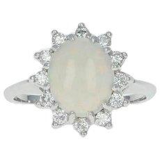 Opal & Diamond Halo Ring - 14k White Gold Cabochon Cut 1.46ctw