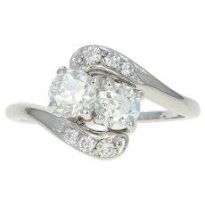 Art Deco Diamond Bypass Ring - 14k White Gold Vintage Size 6 1/2 European .96ctw