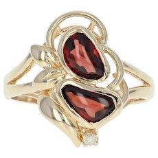 Garnet Bypass Ring - 14k Gold Diamond Accent Size 6 1/2 - 6 3/4