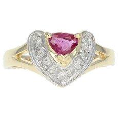 Ruby & Diamond Ring - 14k Yellow Gold Pear Brilliant .45ctw