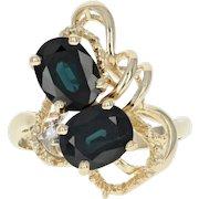 Sapphire Bypass Ring - 14k Yellow Gold Diamond Accent 4.41ctw