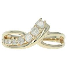 Diamond Journey Ring - 10k Yellow Gold Crossover Round Brilliant .50ctw