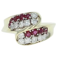 Ruby & Diamond Bypass Ring - 14k Yellow Gold Round Brilliant 1.45ctw