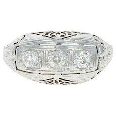 Art Deco Belais Three-Stone Diamond Ring -18k White Gold Vintage Mine Cut .36ctw