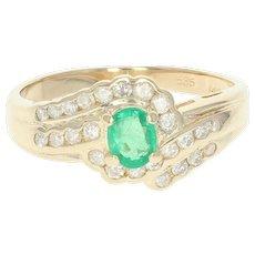 Emerald & Diamond Bypass Ring - 14k Yellow Gold Oval .73ctw