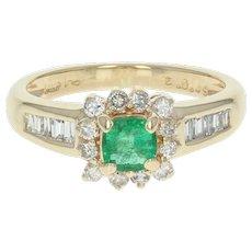 Emerald & Diamond Halo Ring - 14k Yellow Gold Cushion Cut .93ctw