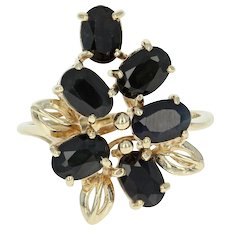 Sapphire Cluster Ring - 14k Yellow Gold Bypass Oval Brilliant 3.30ctw