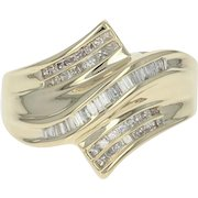 Diamond Bypass Ring - 14k Yellow Gold Size 7 1/4 Baguette & Princess Cut .50ctw
