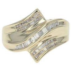Diamond Bypass Ring - 14k Yellow Gold Size 7 1/4 Baguette & Princess Cut .50ctw