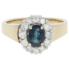 Sapphire & Diamond Halo Ring - 14k Gold Euro Shank Oval Brilliant .89ctw