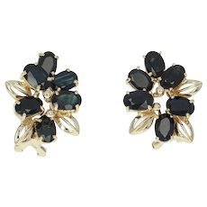 Floral Sapphire Earrings - 14k Yellow Gold Pierced Oval Brilliant 7.00ctw