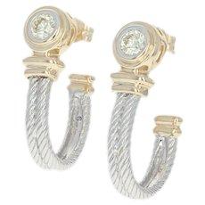 Diamond J-Hook Earrings - 14k White Gold Pierced Round Brilliant .36ctw