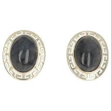 Grey Jadeite Stud Earrings - 14k Yellow Gold Greek Key Pierced 9.30ctw