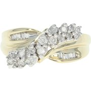 Diamond Crossover Ring - 10k Yellow Gold Round Brilliant Cut .50ctw
