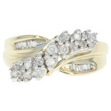 Diamond Crossover Ring - 10k Yellow Gold Round Brilliant Cut .50ctw