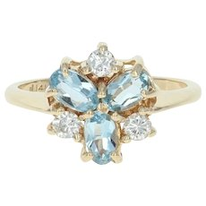 Aquamarine & Diamond Ring - 14k Yellow Gold Cluster Oval Brilliant .75ctw
