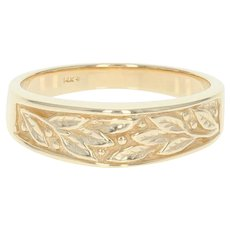 Leaf Spray Band Ring - 14k Yellow Gold Size 10 1/4 - 10 1/2 Tapered