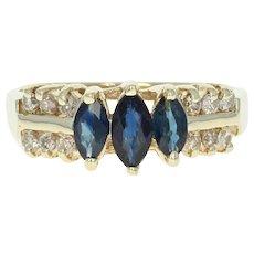 Sapphire & Diamond Ring - 14k Yellow Gold Three-Stone w/ Accents .98ctw