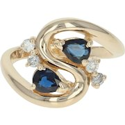 Sapphire & Diamond Bypass Ring - 14k Yellow Gold Pear Brilliant .89ctw