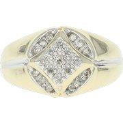 Men's Diamond Ring - 10k Yellow Gold 10 1/4 - 10 1/2 Single Cut .20ctw