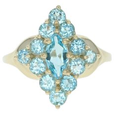 Blue Topaz Ring - 14k Yellow Gold Cluster Marquise Brilliant 2.40ctw