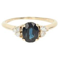 Sapphire & Diamond Ring - 14k Yellow Gold Oval Brilliant 1.35ctw