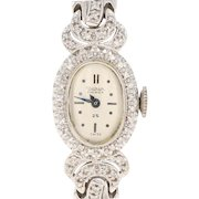 Vintage Waltham Diamond Premier Watch - 14k Gold Mechanical 2Yr Wty Dias .37ctw