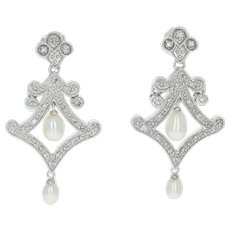 Freshwater Pearl & Diamond Dangle Earrings - 10k Gold Pierced Single Cut .10ctw