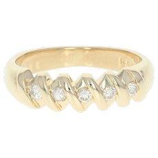 Five-Stone Diamond Ring - 14k Yellow Gold Anniversary Round Cut .20ctw