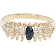 Sapphire & Diamond Ring - 14k Yellow Gold Size 7 1/2 Marquise .46ctw