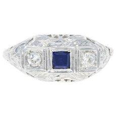 Art Deco Syn. Sapphire & Diamond Ring -14k Gold Filigree Vintage Mine Cut .24ctw