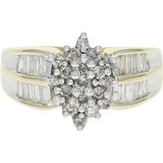 Diamond Cluster Ring - 10k Yellow Gold Round Brilliant 1.05ctw
