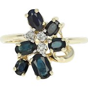 Sapphire & Diamond Bypass Ring - 14k Yellow Gold Oval Brilliant 1.93ctw