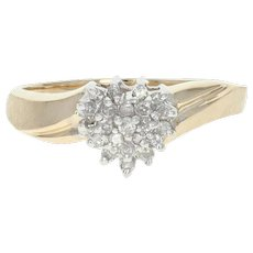 Diamond Cluster Heart Ring - 10k Yellow Gold Bypass Single Cut .16ctw