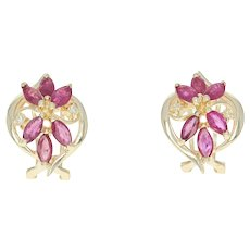 Floral Ruby & Diamond Earrings - 14k Gold Pierced Marquise Brilliant 2.56ctw