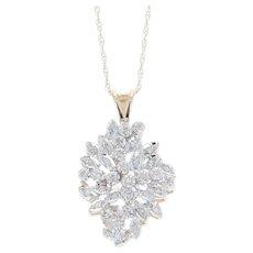 Diamond Floral Spray Pendant Necklace - 14k Gold Cluster Single Cut .10ctw
