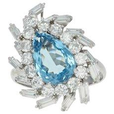 Aquamarine & Diamond Halo Cocktail Ring - Platinum Bypass 5.45ctw