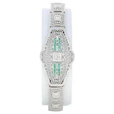 "Art Deco Diamond & Simulated Emerald Bracelet 7"" - 14k Gold & Platinum .26ctw"