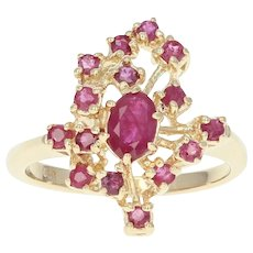 Ruby Cluster Ring - 14k Yellow Gold Oval Brilliant 1.20ctw