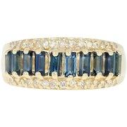 Sapphire & Diamond Ring - 14k Yellow Gold Size 6 3/4 Baguette 1.22ctw