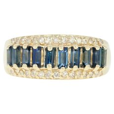 Sapphire & Diamond Ring - 14k Yellow Gold Size 6 3/4 Baguette 1.22ctw