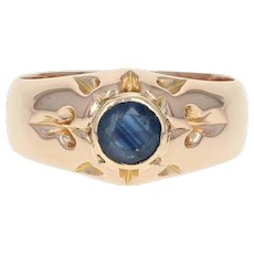 Men's Sapphire Ring - 18k Rose Gold Size 9 - 9 1/4 Round Cut .97ct