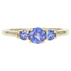 Tanzanite Ring - 14k Yellow Gold Three-Stone Round Brilliant .65ctw