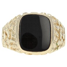 Men's Onyx Ring - 14k Yellow Gold Solitaire Size 11.25 - 11.5