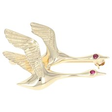 Flying Geese Brooch - 14k Yellow Gold Ruby-Accented Bird Pin