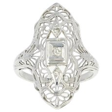 Art Deco Diamond Filigree Ring - 18k White Gold Millgrain Open Cut Vintage