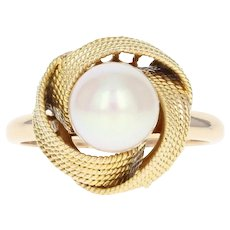 Akoya Pearl Solitaire Ring - 14k Yellow Gold 7.5mm Women's Size 5 3/4