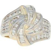 Diamond Knot Bypass Ring - 14k Yellow Gold Baguette Cut 1.00ctw
