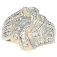 Diamond Knot Bypass Ring - 14k Yellow Gold Baguette Cut 1.00ctw