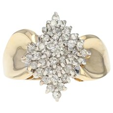 Diamond Cluster Ring - 14k Yellow Gold Size 6 Round Brilliant .50ctw